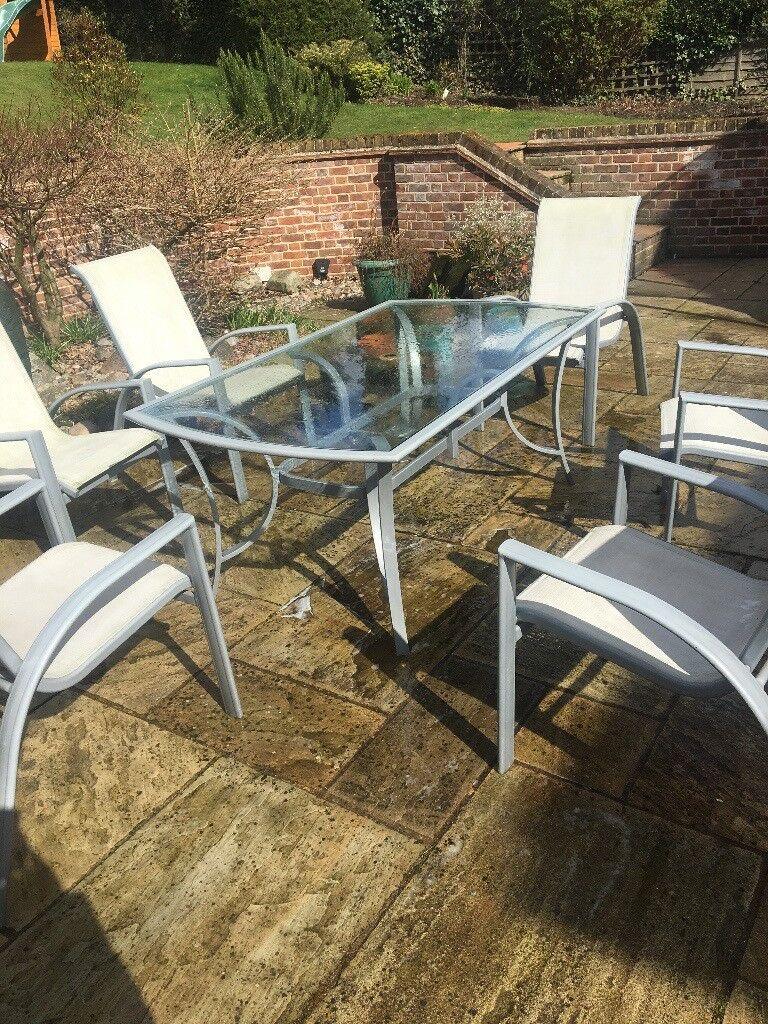 Silver metal 6 seater garden furniture set