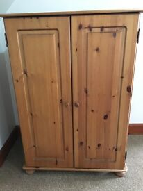 Pine Home Office desk / cupboard , good condition, mark on inside of door, could be sanded out.