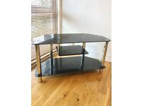 TV Stand, black glass and chrome