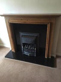 Solid Wood Fireplace with Black Granite