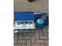PORTABLE GAS STOVE INC GAS BOTTLE AND TABLE ( FAIRLY NEW)