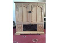 Light Oak TV Cabinet With TV Box/DVD Player Compartment
