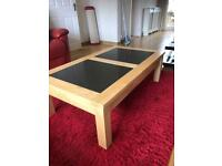 Pine and Black Marble Coffee Table