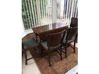 Drop leaf antique table and 4 chairs