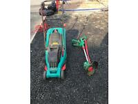 Bosch Electric lawnmower and Qualcast Electric Strimmer