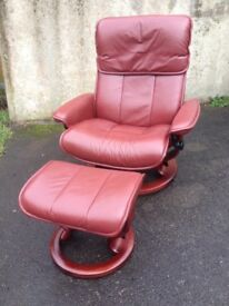 Red Leather Ekornes Stressless Recling Armchair & Matching Footstool