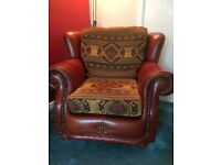 Stylish Tan Leather and Fabric Armchair, Two Seater and Three Seater Sofas.