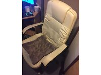 White Gaming/Office Chair with Cushion