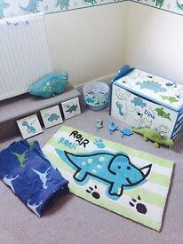 Dinosaur Bedroom Set 12 items - Toy Box - Rug - Lampshade
