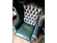 Vintage green chesterfield wing back chair
