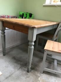 Chunky solid wood farmhouse dining table