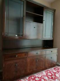 Solid mahogany display cabinet unit