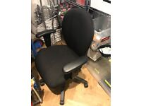 Black Office Chair Adjustable Arms and Wheels