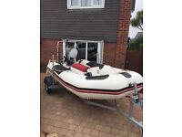 Bombard 3.1mtr rib boat complete with refurbished trailer and Mariner 15hp outboard engine.