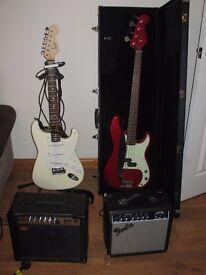 Fender squire strat guitar, Jim deacon bass guitar, 2 amps & accesories