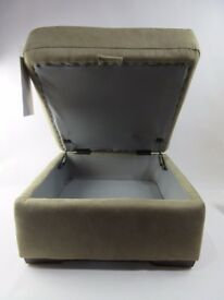 SOFOLOGY BROWN SWEDE STORAGE FOOTSTOOL - PLASTIC FEET - ONLY £40 !!!!