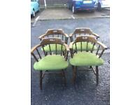 Four Oak Curved Back Chairs