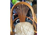 2 x Cane Conservatory Swivel Chairs