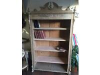 Large old pine bookcase Victorian