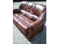 Brown leather and oak 3 seater sofa