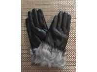 Faux leather gloves with fur trim