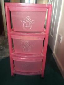Girls pink drawers storage