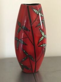 Red with pattern Poole Pottery Vase(seconds) in excellent condition.37cm high