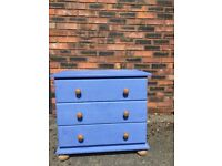 Solid pine painted chest of drawers