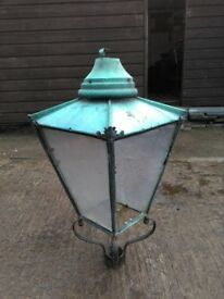 ANTIQUE VICTORIAN LOOK GAS LAMP VINTAGE COPPER NEEDS REPAIRED PLUS SECOND TOP