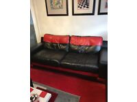 THREE PIECE LEATHER SUITE/DFS/BLACK & RED
