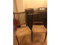 Wicker base dining chairs