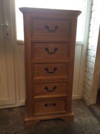 Solid oak 5 drawer tallboy
