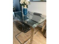 6 Seater Glass Top Dining Table & 4 Chairs
