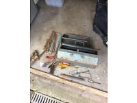 Vintage tool box with old tools.