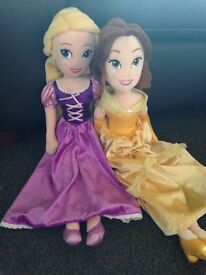 Two Soft Toy Princess Character Dolls