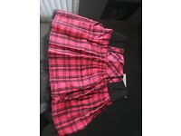 Excellent Condition Women's Pink Tartan TuTu Skater Mesh Skirt. River Island Size 10