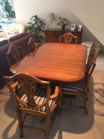 Dining Table (extendable) & 8 Chairs (includes 2 carvers) plus 2 matching cabinets