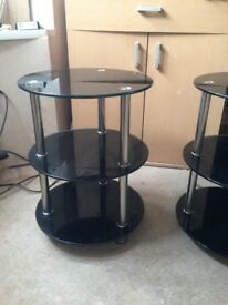 Twin 3 Tier Glass Display Stands Black Glass