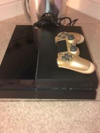 PS4 with custom gold control and game