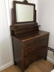 Vintage dressing table on castors bevelled mirror, too big for our new home.
