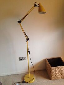 Funky yellow anglepoise floor lamp, as new, ready to plug in and use