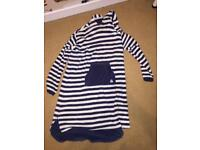 Dark blue and white striped bath/beach robe