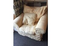 2 x Large Armchairs Yellow Pastel Very Good Floral Pattern Feather