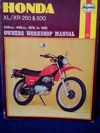Haynes workshop manual for Honda XL/XR 250 & 500