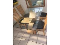 Dining Table Glass Top Oak X Cross Legs + 4 chairs