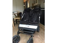 Mountain Buggy Duet, Black, plus accessories including 2 footmuffs, good condition