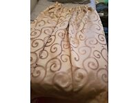 Pair of gold curtains, good quality, thick material and fully lined.