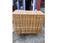 Appealing Vintage Retro Formica Chest of 5 Drawers, Tallboy - Lovely Condition