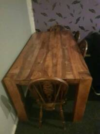 Table and 4 chairs 6 foot long Indian oak