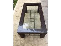 Intertwined Leather Glass Coffee Table